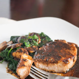 One Pan Pork Chops with Spinach and Mushrooms.