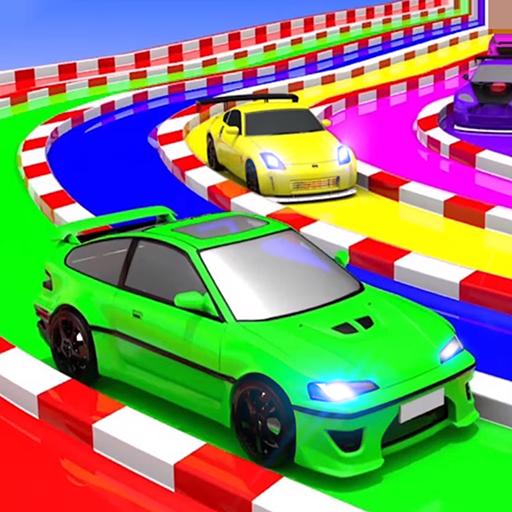 Superheroes Water Slide Colors Car Racing