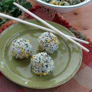 Vegan Rice Balls with Corn and Cilantro Pesto.
