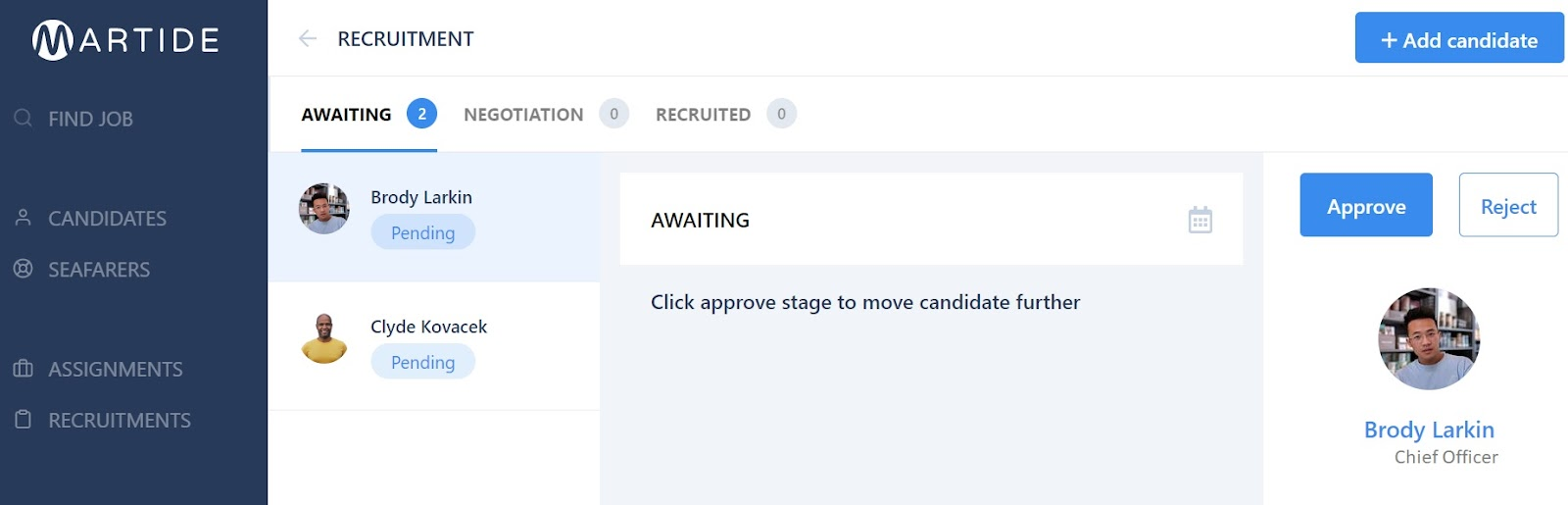 screenshot of the Martide website showing the candidate pipeline.