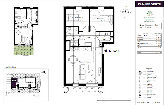 Vente appartement 3 pièces 62,49 m2