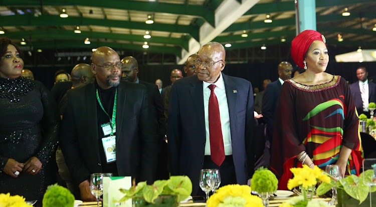 First lady Bongi Ngema, Cosatu president Sdumo Dlamini, outgoing ANC president Jacob Zuma and first lady Thobeka Zuma during the ANC gala dinner last week before the start of the party's elective conference.