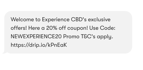 Experience CBD's welcome text.