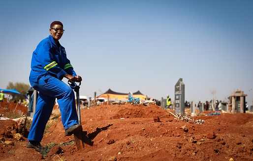 Nomtu Magalela is the only female grave digger in her team of four.