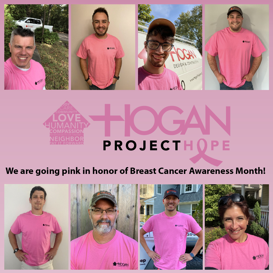 The Hogan Design & Construction Team wear pink shirts in support of Breast Cancer Awareness Month