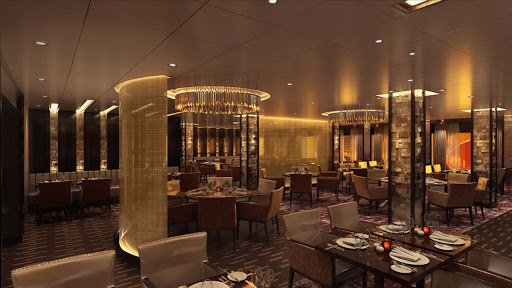 A look at the Fahrenheit 555 Steakhouse aboard Carnival's new ship, Mardi Gras (rendering).
