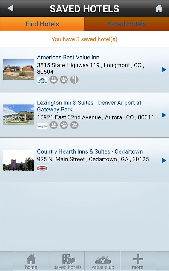 Vantage Hotels- screenshot