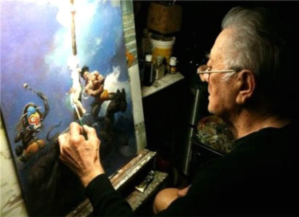 A man painting