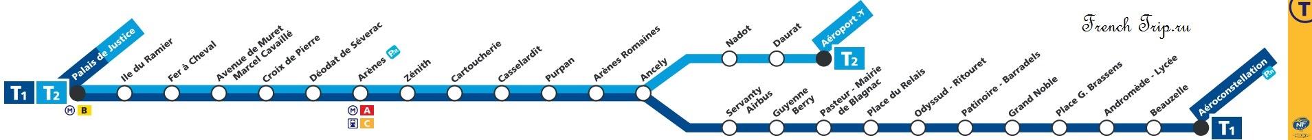Маршрут трамвая из аэропорта в Тулузу
