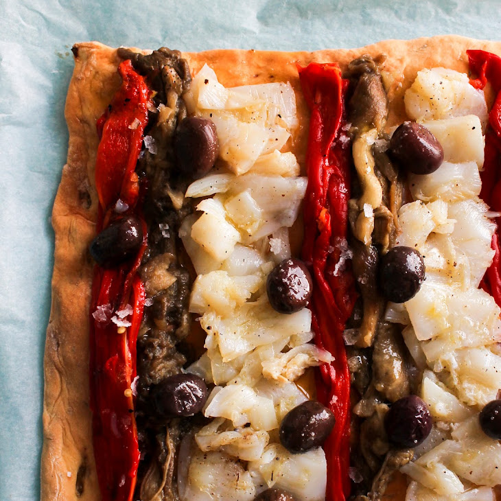 Grilled Vegetable Pastry and Kalamata Cod