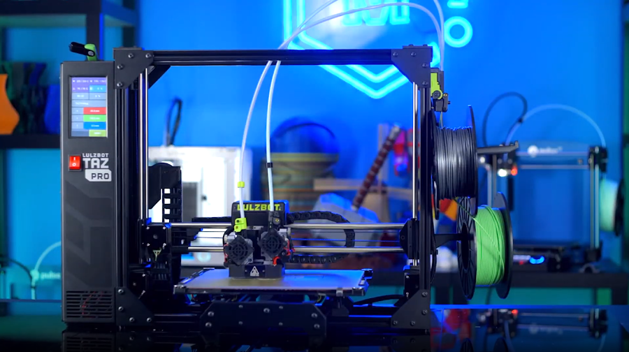 Dual Extrusion printers like the Lulzbot TAZ PRO are capable machines, but the dual nozzles do not offer any more utility than one nozzle while batch printing.