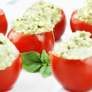 Pesto Avocado-Stuffed Tomatoes