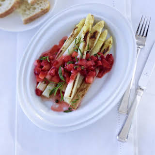 Caramelized Asparagus with Strawberry Sauce.