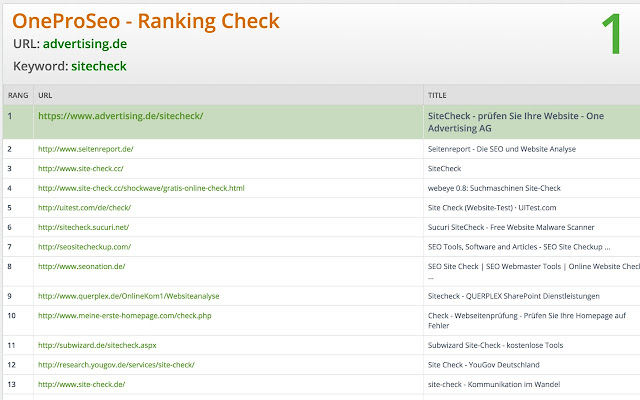 OneProSeo Ranking Check