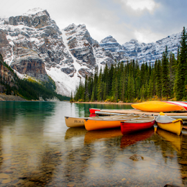 Moraine Lake by Joseph Law - Transportation Boats