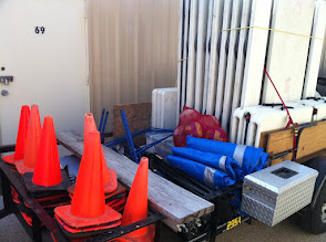 Photo: And more day camp trailers; it takes a lot of people and space to move the gear.