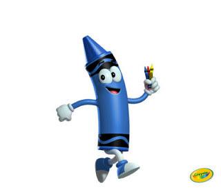 Blue Crayola crayon running