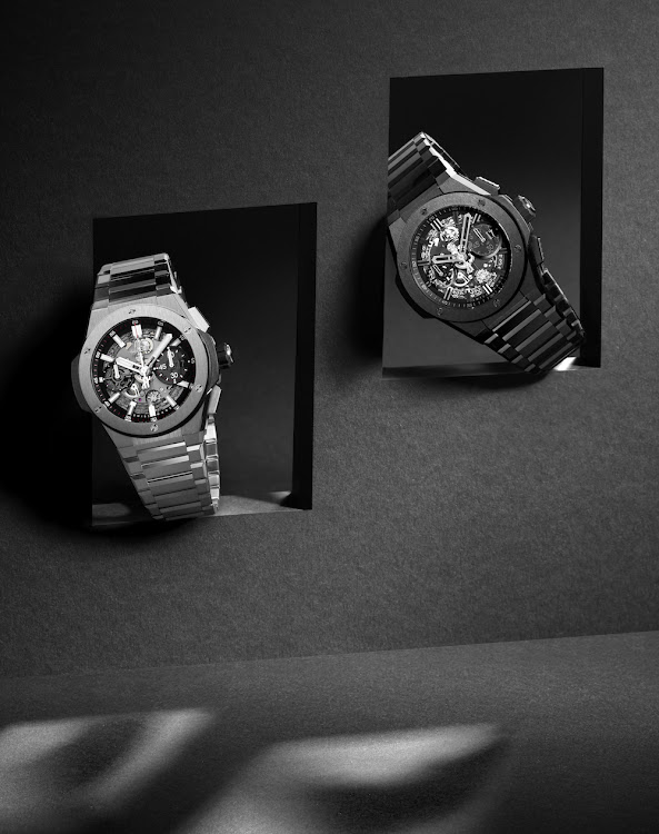 The new watch collection by Hublot comes in titanium, king gold or ceramic.