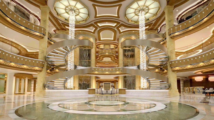 Royal Princess' large piazza-style atrium. Each cruise line has different rules for payment due dates and cancellation deadlines.