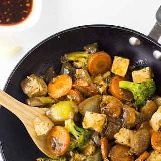 Asian Tofu Stir-Fry with Honey Sriracha Sauce.
