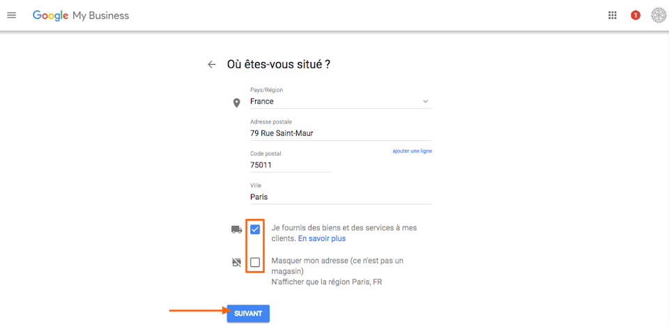 Paramétrage de Google My Business