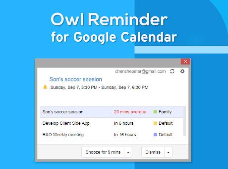 Owl Reminder for Google Calendar™