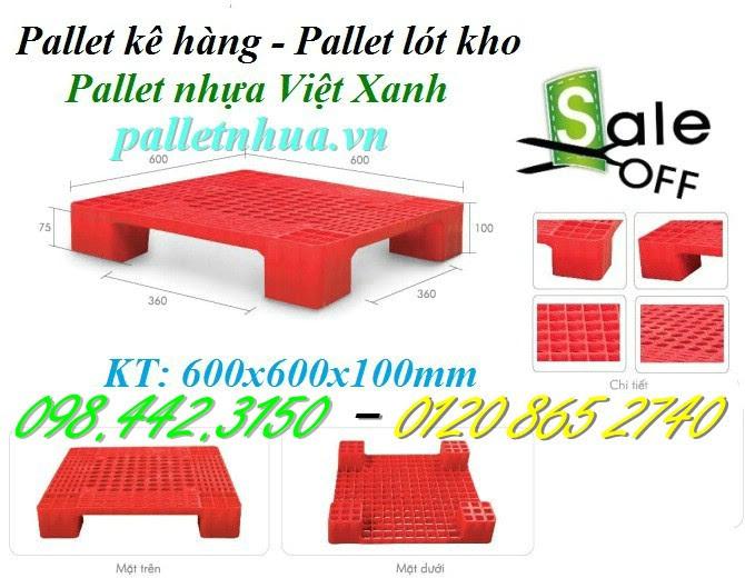 Pallet nhựa 600x600x100mm