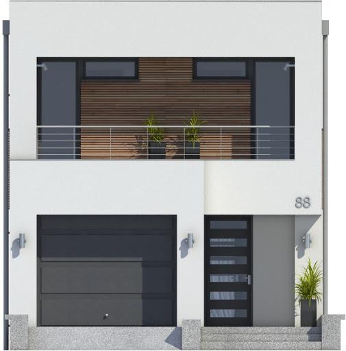 Eco 4 z garażem 1-st. A - Elewacja przednia