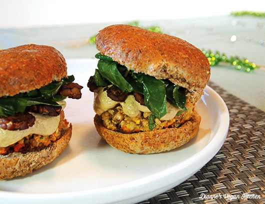Hoppin' John Burgers with Tempeh Bacon and Spicy Aioli Recipe ...