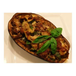 Twice-Cooked Zucchini Stuffed Eggplant