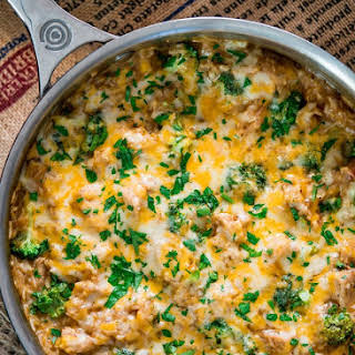One Pot Cheesy Chicken Broccoli Rice Casserole.