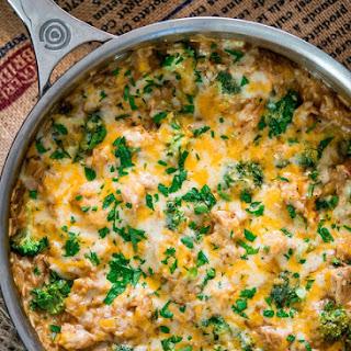 One Pot Cheesy Chicken Broccoli Rice Casserole.