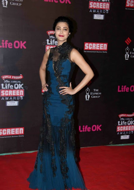 Shruti Hassan at Life OK Screen Awards 2013, Shruti Hassan in blue gown