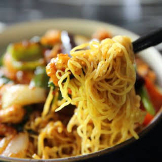 Long Life Noodles with Chicken and Baby Bok Choy.