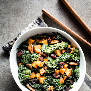 Kale Salad with Roasted Sweet Potatoes.