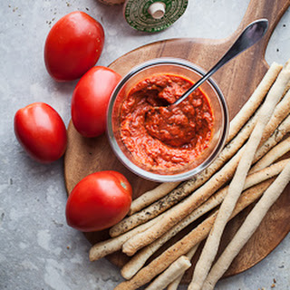 Italian Breadsticks (Grissini) with Slow Roasted Tomato Dipping Sauce (Gluten-Free, Paleo, Vegan))