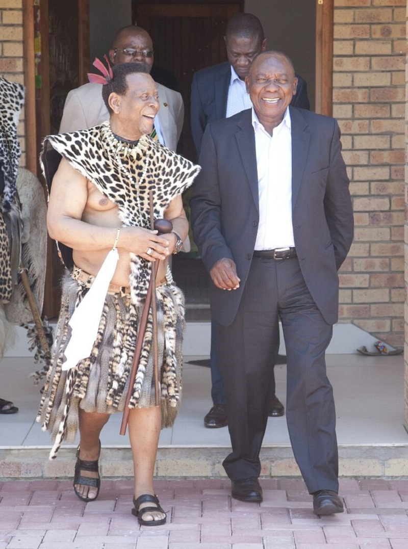 ANC president Cyril Ramaphosa and four members of the party's top six paid Zulu King Goodwill Zwelithini a courtesy visit at his Osuthu Palace in Nongoma in northern KwaZulu-Natal on Sunday.