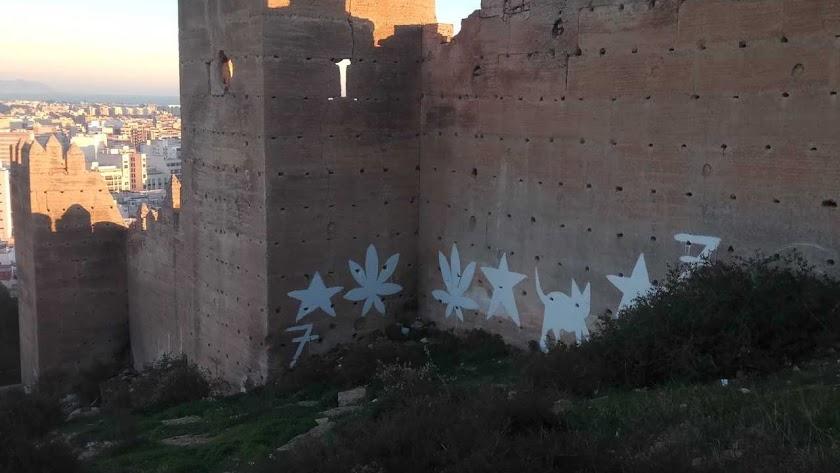 Pintadas en La Alcazaba.