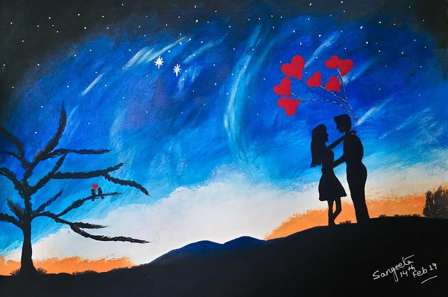 Love Couple by Sangeeta Paul - Painting All Painting