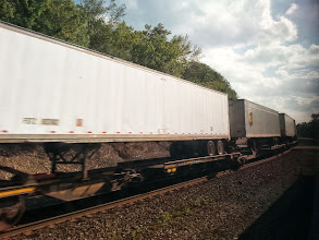 Photo: Freight train. We had to slow down or stop many times for these to pass. Of the many miles we travelled Amtrak only actually owns a few hundred miles. The rest is owned by the freight