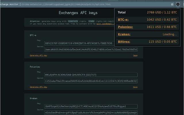 BTC exchange monitor
