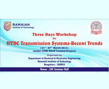 3 days workshop on HVDC Transmission Systems-Recent Trends(under CPRI-RSoP funded project)