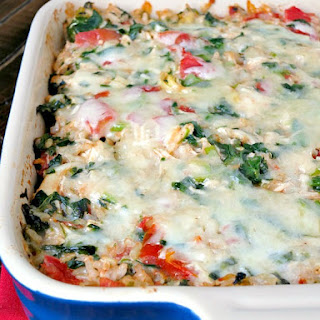 Cheesy Spinach Artichoke Chicken Rice Casserole.
