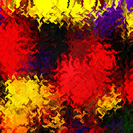 Flowers in Abstract by Edward Gold - Digital Art Abstract ( artistic objects, digital photography, flowers, abstract art, orangle, reds, yellow, purple, colorful, digital art,  )