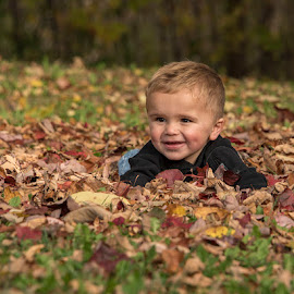 Lots of Leaves by Rita Taylor - Babies & Children Child Portraits ( child, leaves, autumn.,  )