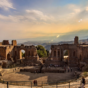 Teatro Greco, Taormina by Pixie Simona - Buildings & Architecture Public & Historical ( teatro greco, amphitheatre, sicilia, taormina, greek theatre, historical, sicily, amphitheater, architecture,  )