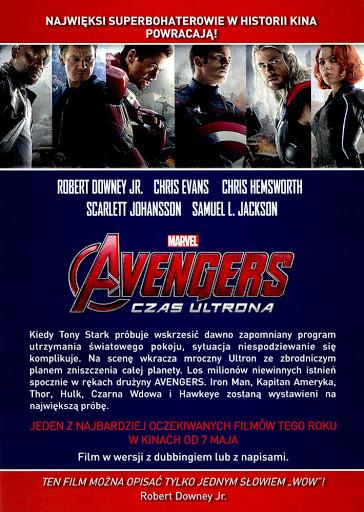 Tył ulotki filmu 'Avengers: Czas Ultrona'