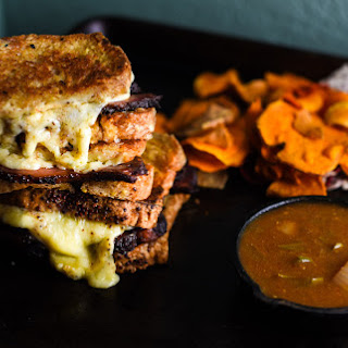 SMOKED BRISKET GRILLED CHEESE WITH NC VINEGAR SAUCE