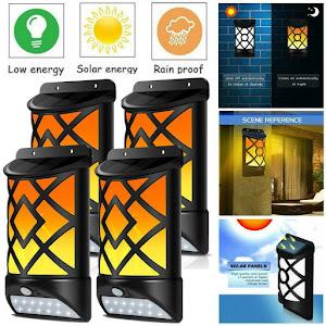 Set 4 x Lampa solara cu senzor miscare cu efect flacara
