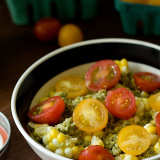 Pesto Quinoa with Tomatoes and Corn.